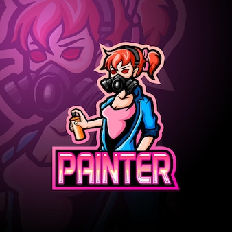 Logotipo do mascote do painter girl esport