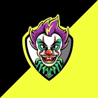 Logotipo do mascote do palhaço esport