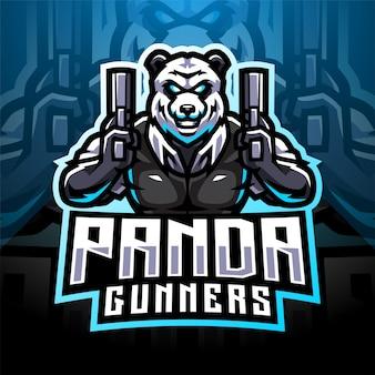 Logotipo do mascote do panda gunners esport
