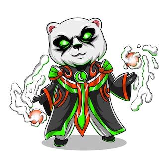 Logotipo do mascote do panda mage chibi