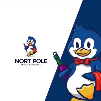 Logotipo do mascote do personagem pinguim adequado para restaurante - modelo de logotipo de animal