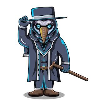 Logotipo do mascote do plague doctor chibi
