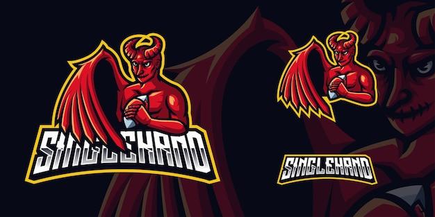 Logotipo do mascote do red devil gaming para esports streamer e comunidade