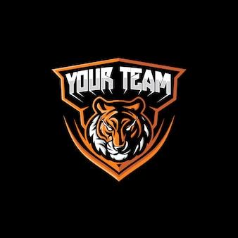 Logotipo do mascote do rosto do tigre dos esporte