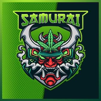 Logotipo do mascote do samurai oni e sport