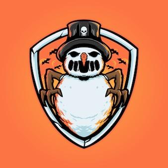 Logotipo do mascote do snowman horror hallowen christmast