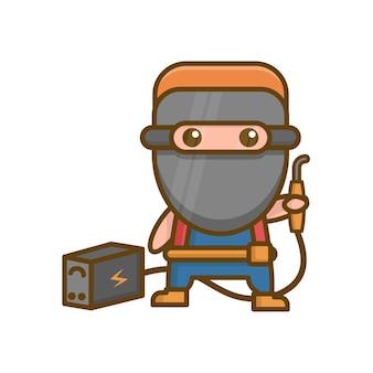 Logotipo do mascote do soldador kawaii fofo
