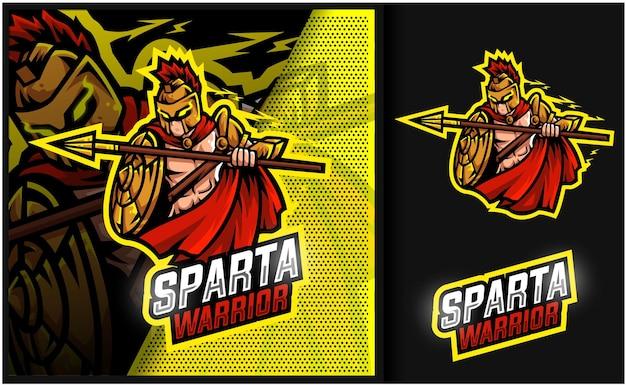 Logotipo do mascote do sparta warrior gaming