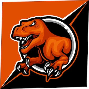 Logotipo do mascote do t rex para esportes e esportes eletrônicos