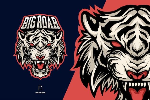 Logotipo do mascote do tigre branco cabeça furiosa e esport