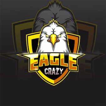 Logotipo do mascote do time de e-sports da crazy eagle