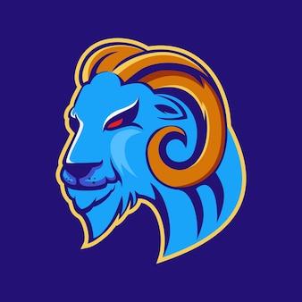 Logotipo do mascote do time de e-sports de ovelhas