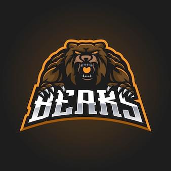 Logotipo do mascote do urso para esport