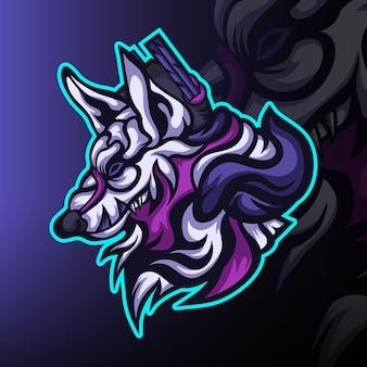 Logotipo do mascote do wandering wolf gaming esport