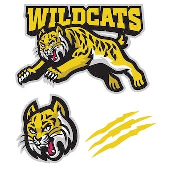 Logotipo do mascote dos gatos selvagens pulando