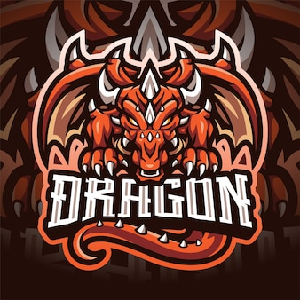 Logotipo do mascote dragon esport