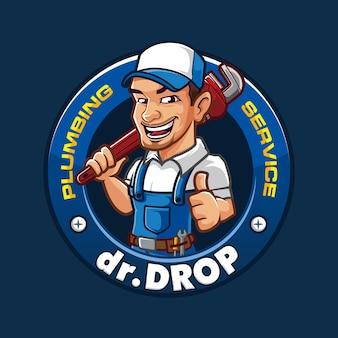 Logotipo do mascote drop plumb plumbing
