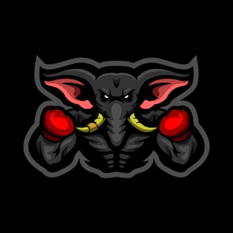 Logotipo do mascote e esportes do elephant boxer
