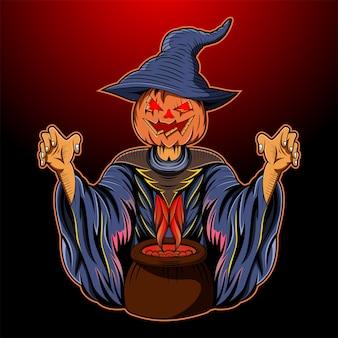 Logotipo do mascote esport da abóbora de halloween