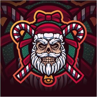Logotipo do mascote esport da cabeça do crânio do papai noel