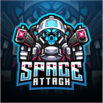 Logotipo do mascote esport do ataque espacial do crânio