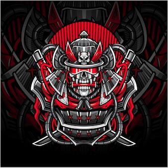 Logotipo do mascote esport do crânio de samurai