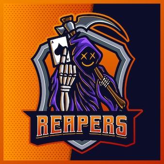 Logotipo do mascote esport do hood jack reaper com brilho