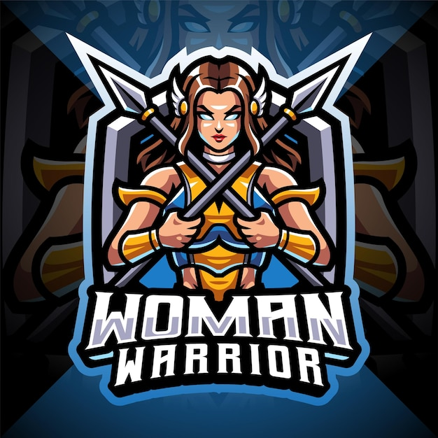Logotipo do mascote esport feminino guerreiro