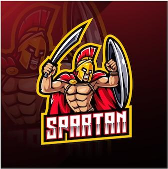 Logotipo do mascote esporte espartano