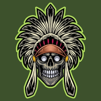 Logotipo do mascote esportivo com cabeça de crânio tribal