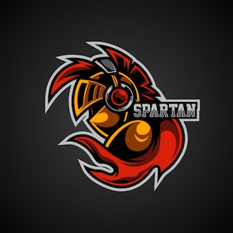 Logotipo do mascote esportivo e spartan gamer