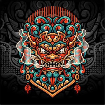 Logotipo do mascote foo dog esport