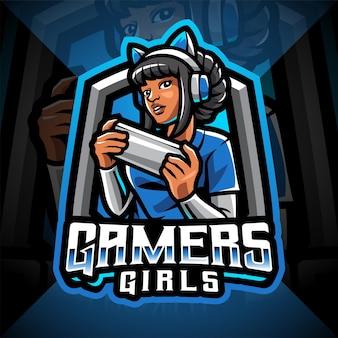 Logotipo do mascote gamer girls esport