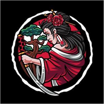 Logotipo do mascote geisha esport