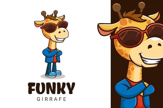 Logotipo do mascote girrafe com óculos e pose funky