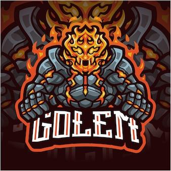 Logotipo do mascote golems esport