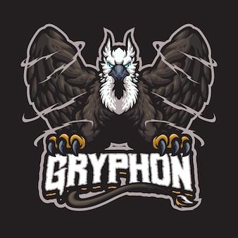Logotipo do mascote gryphon para esportes e equipes esportivas