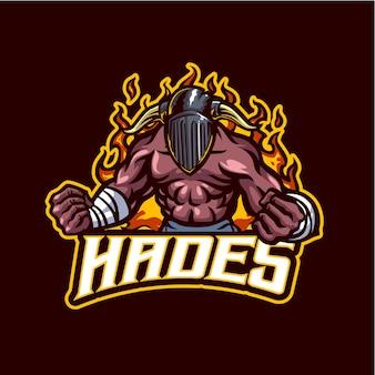 Logotipo do mascote hades para esportes eletrônicos e equipe esportiva