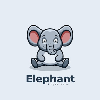 Logotipo do mascote kawaii do elefante sentado fofo