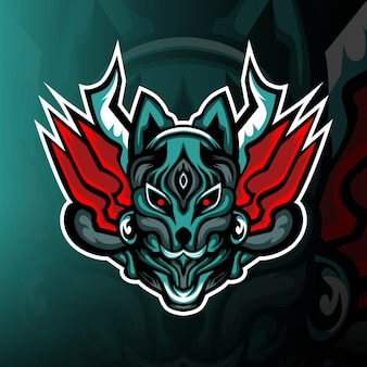 Logotipo do mascote kitsune mask esport