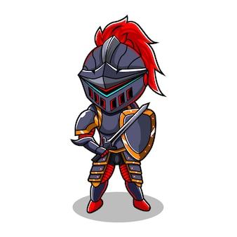 Logotipo do mascote knight chibi esport