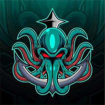 Logotipo do mascote kraken polvo esport