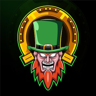 Logotipo do mascote leprechaun head esport