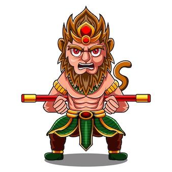 Logotipo do mascote macaco rei chibi