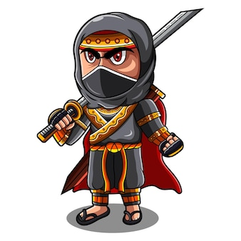 Logotipo do mascote ninja chibi
