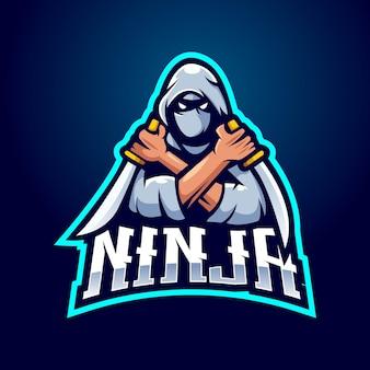 Logotipo do mascote ninja com ilustração moderna