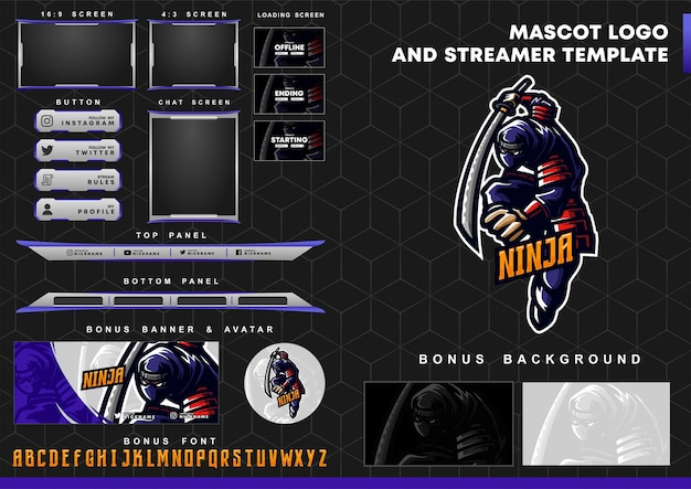 Logotipo do mascote ninja e modelo de sobreposição de contração