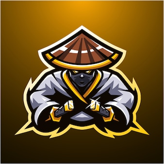Logotipo do mascote ninja esport