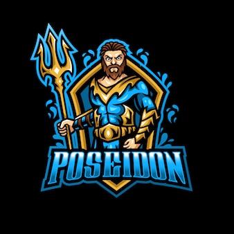 Logotipo do mascote poseidon netuno esport gaming
