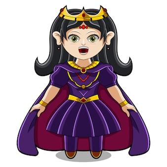 Logotipo do mascote queen chibi